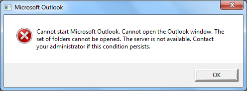 Outlook send receive error