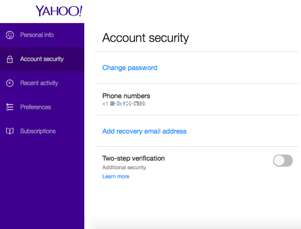 Change Mobile Number in Yahoo Mail