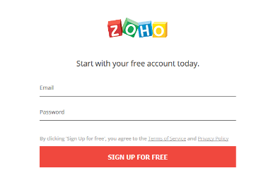 zoho sign in error